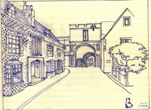 One of Patrick Leigh Fermor's designs for Mitchinson's House 1979; his own house, The Grange, is on the right